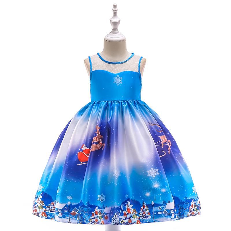 blue girls Christmas princess dress