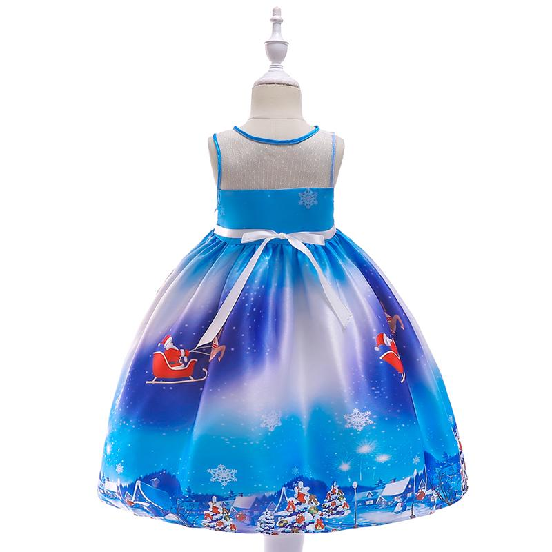 Blue Christmas princess dress for little girls aged 3-10, with elk hair accessories,035A