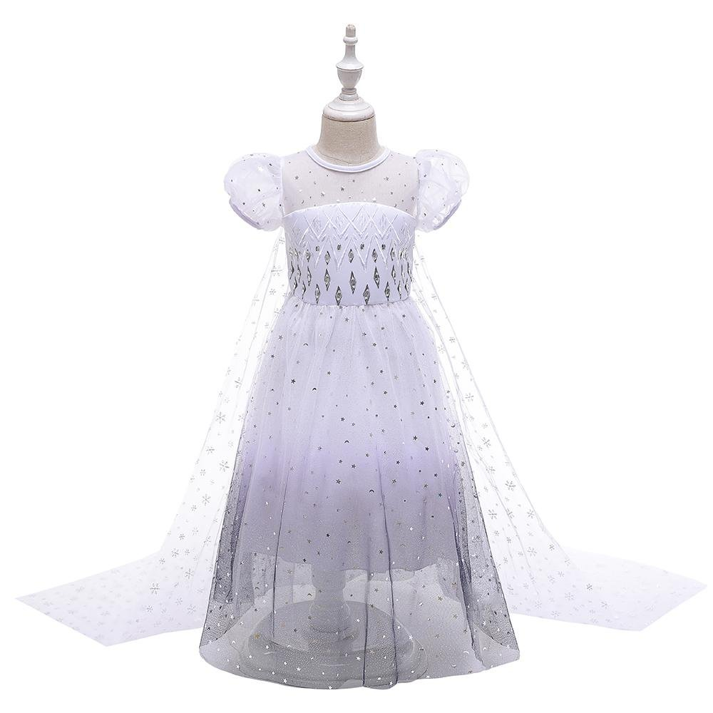 Little Girl White Mesh Princess Dresses Costumes Size 4-12 Years BX1706