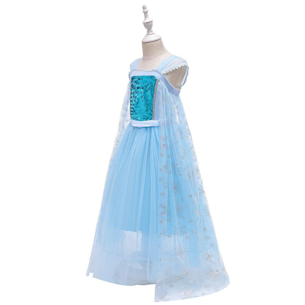 Little Girls Blue Mesh Princess Dresses Up Costumes Size 4-12 Years BX1705