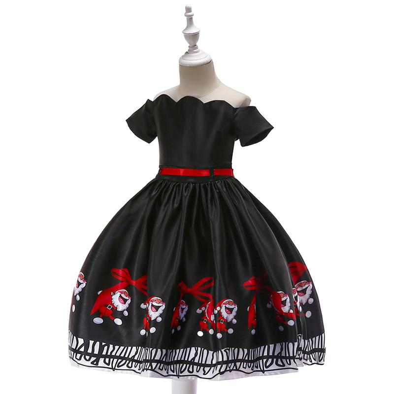 Black Christmas princess dress for 3-10 years little girls , with elk hair accessories