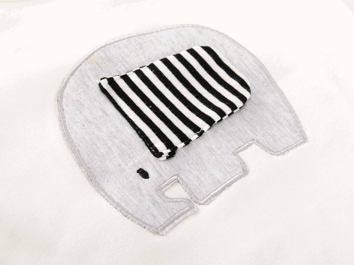Baby unisex elephant top and stripe pant hat set (0-18 months)