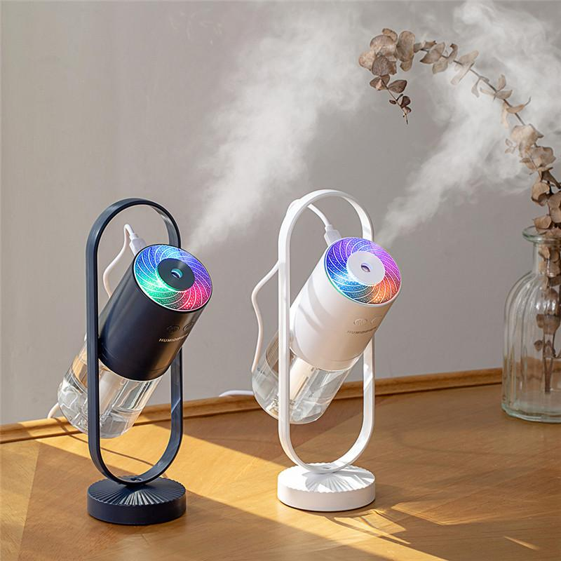 Galaxy 2 in 1 Humidifier Mini Cool Mist Magic Shadow 360° Rotating Air Purifier 200ML Ultrasonic Quiet 7 Colors LED Night Lights Projection for Home Car Office Travel Baby