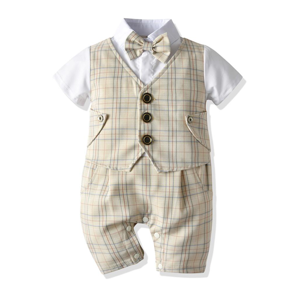 Short Sleeve Plaid Gentleman Bow Tie Romper 0-18mths Grey