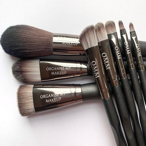 Black Chrome Luxury 8pcs Face, Eyes & Lips Makeup Brush Set