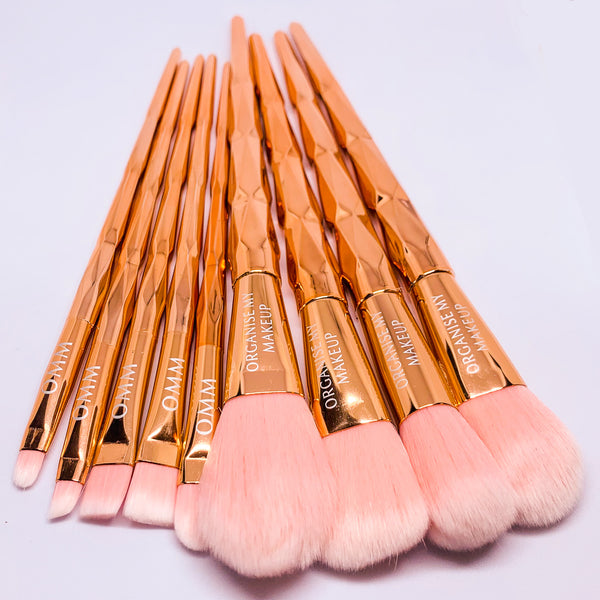 Rose Gold Pink Twist 10pcs Makeup Brush Set