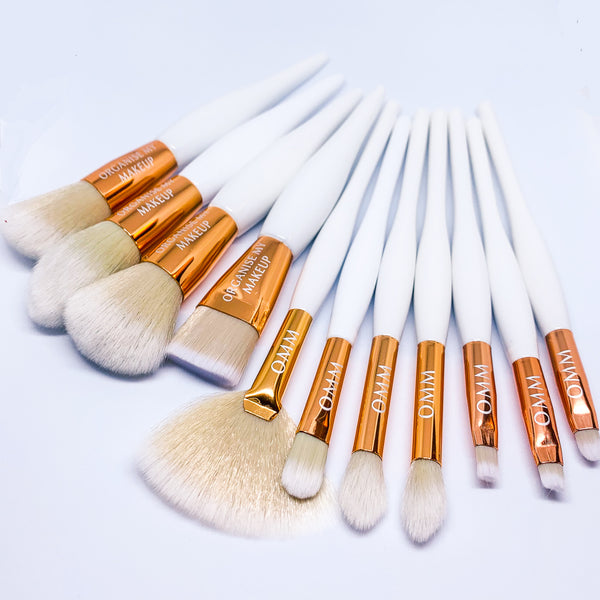 White Gold Luxury 11pcs Full Face Makeup Brush Set