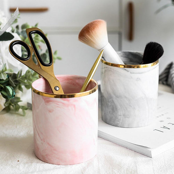 Ceramic Nordic Marble Makeup Brush Holder Pot - Organise my makeup