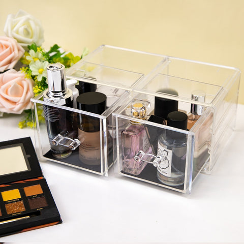Clear Acrylic Makeup Cosmetic Display Storage and Boxes with Drawers - Organise my makeup