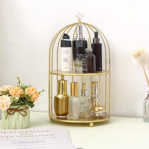 Gold Cosmetic Bird Cage Organiser - Organise my makeup