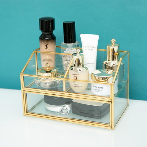 Gold Glass Tabletop Makeup Storage - Organise my makeup