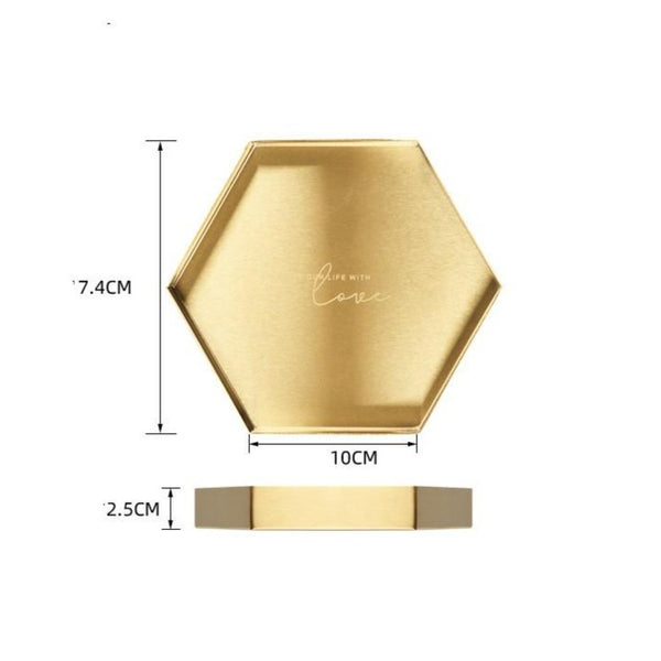 Nordic Geometric Gold Makeup Cosmetic Display Tray - Organise my makeup