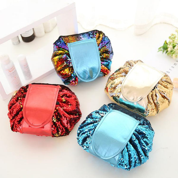 Sequin Drawstring Viral Cosmetic Pouch - Organise my makeup