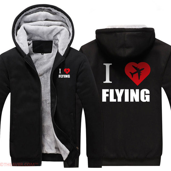 I LOVE FLYING DESIGNED ZIPPER HOODIE