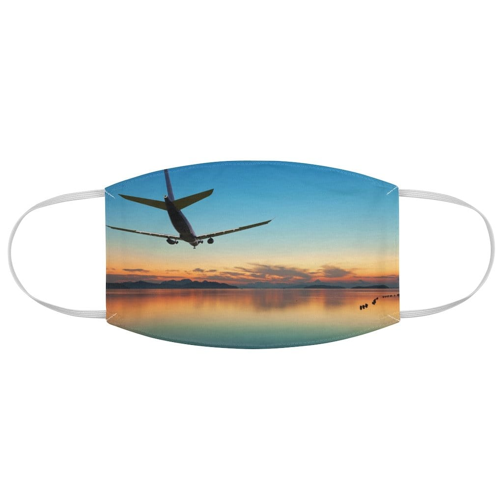 Printify Accessories One size Airplane flying over tropical sea at beautiful sunset or sunrise.