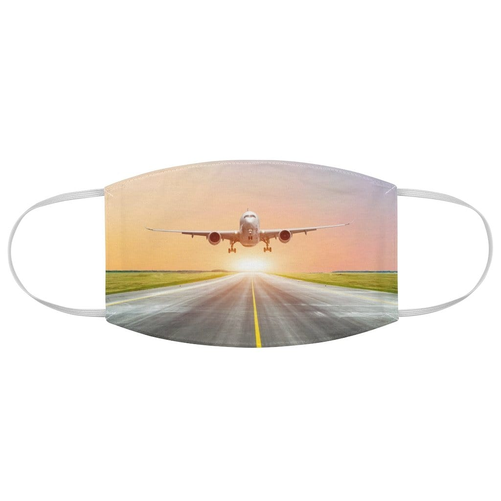 Printify Accessories One size Large passenger plane take off from the runway before the light from the sunshine.