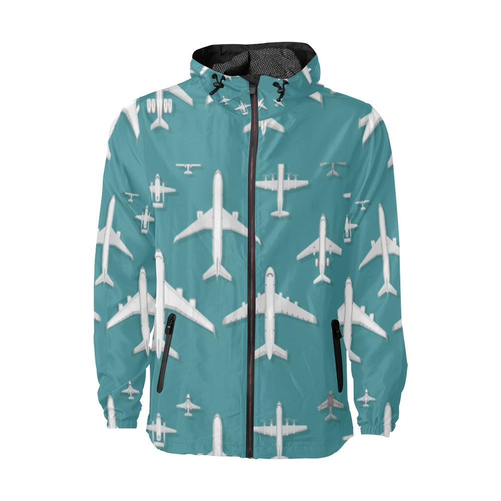 e-joyer All Over Print Windbreaker for Men (H23) Airplane vector illustration top view plane and ai Unisex All Over Print Windbreaker (Model H23)
