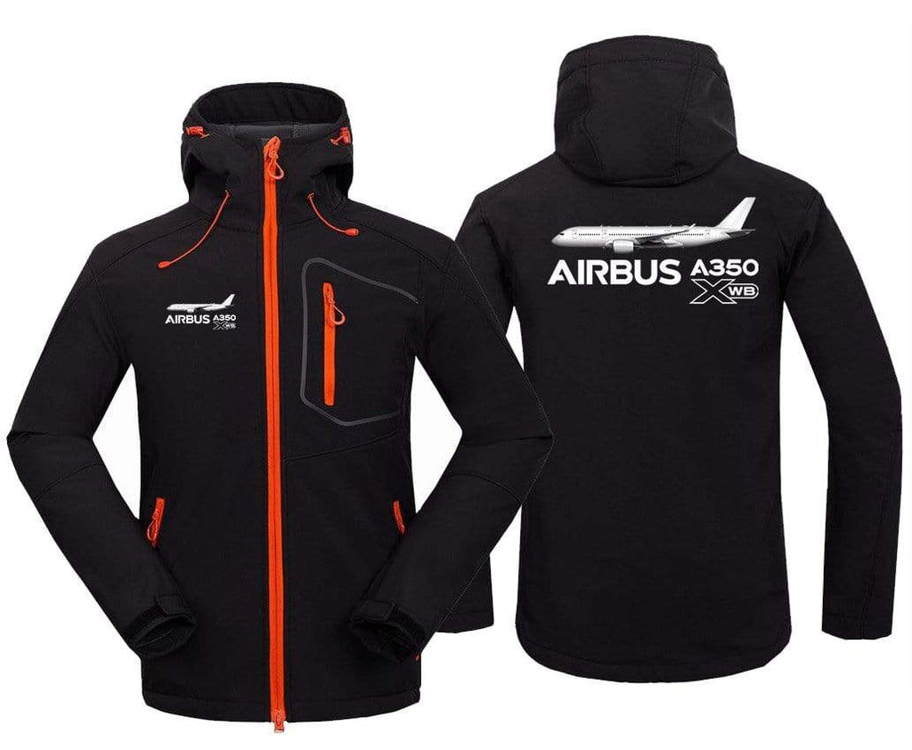 AIRPLANE LOVER Hoodie Jacket Black / S Airbus A350 XBW