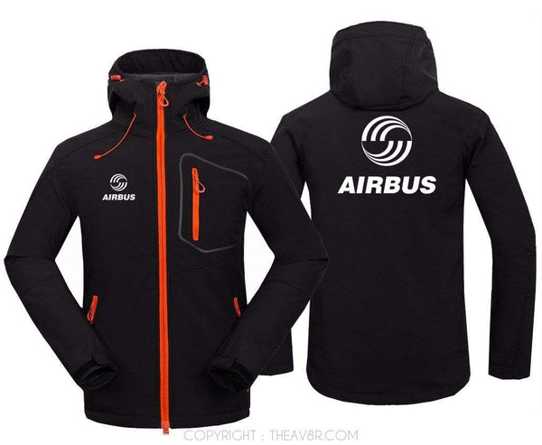 AIRPLANE LOVER Hoodie Jacket Black / S Airbus Logo