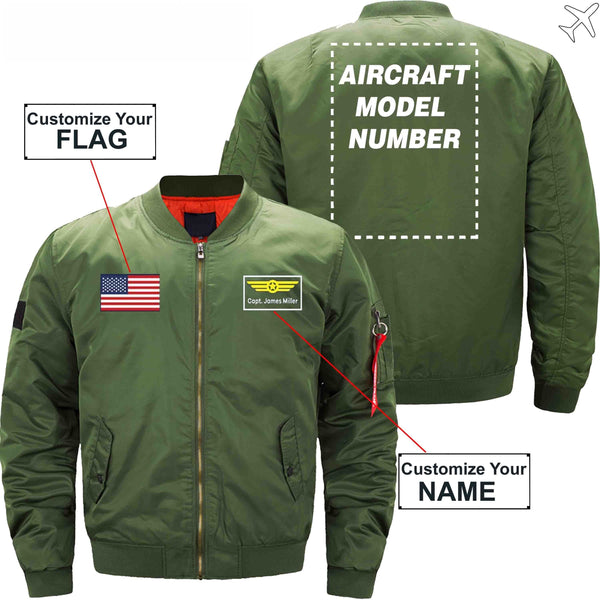 MA1 Jacket Army green thin / S Custom Flag & Name with Aircraft Model Number