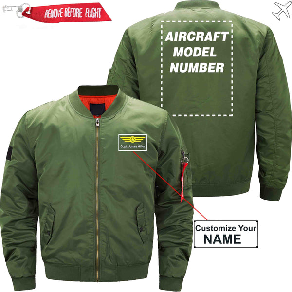 MA1 Jacket Army green thin / XS Name with Aircraft Model Number