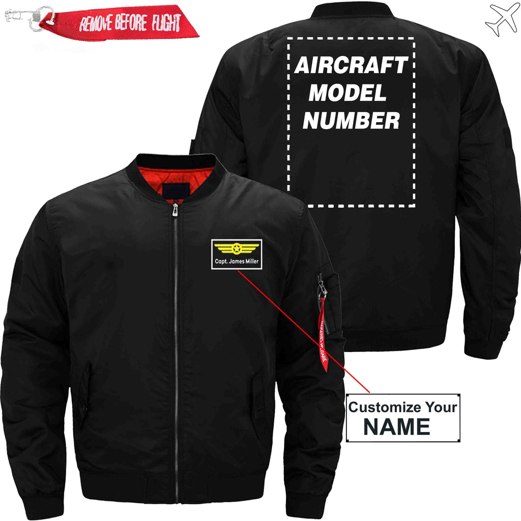 MA1 Jacket Black thin / XS Name with Aircraft Model Number