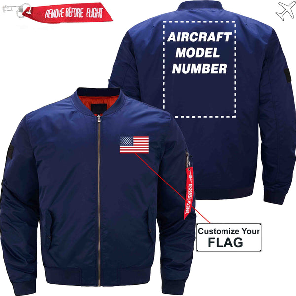 MA1 Jacket Dark blue thin / XS Flag with Aircraft Model Number
