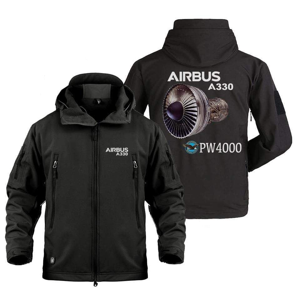 AIRPLANE LOVER Military Fleece Black / S AIRBUS A330  DESIGNED MILITARY JACKET