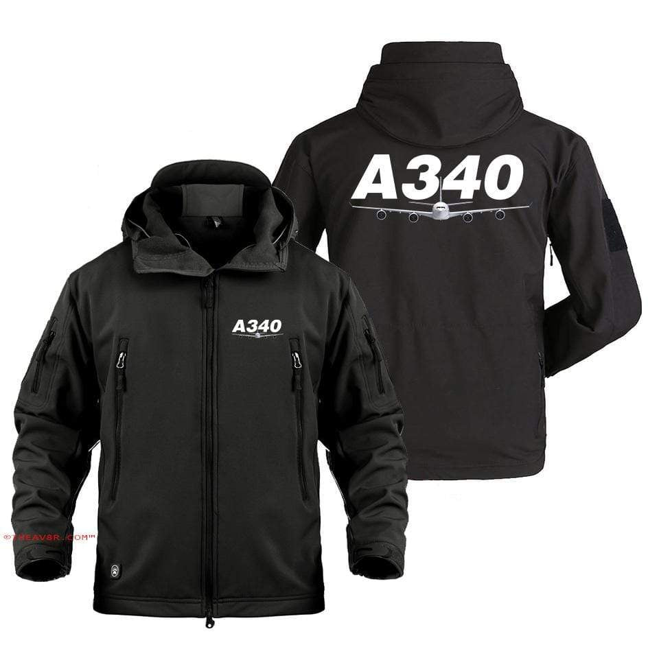 AIRPLANE LOVER Military Fleece Black / S AIRBUS A340  DESIGNED MILITARY JACKET