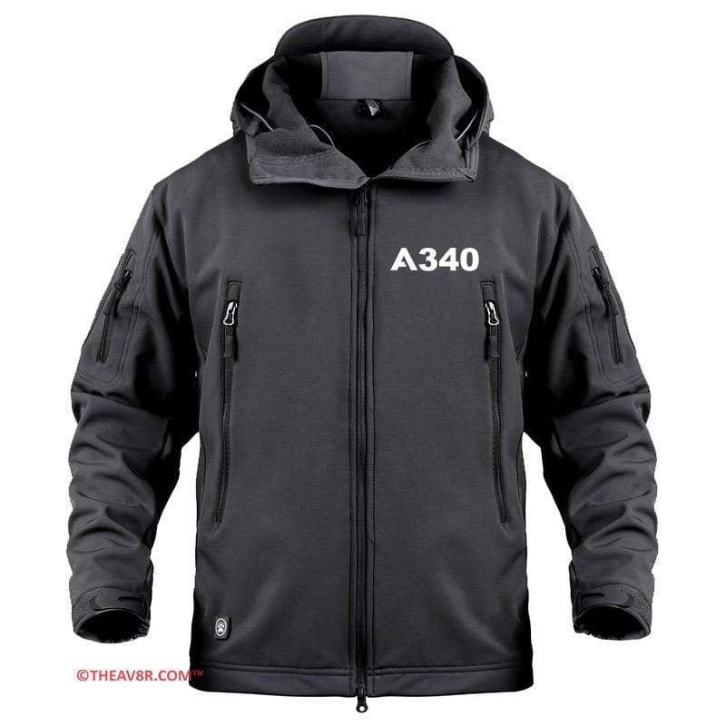 AIRPLANE LOVER Military Fleece Black / S AIRBUS A340 DESIGNEE MILITARY FLEECE