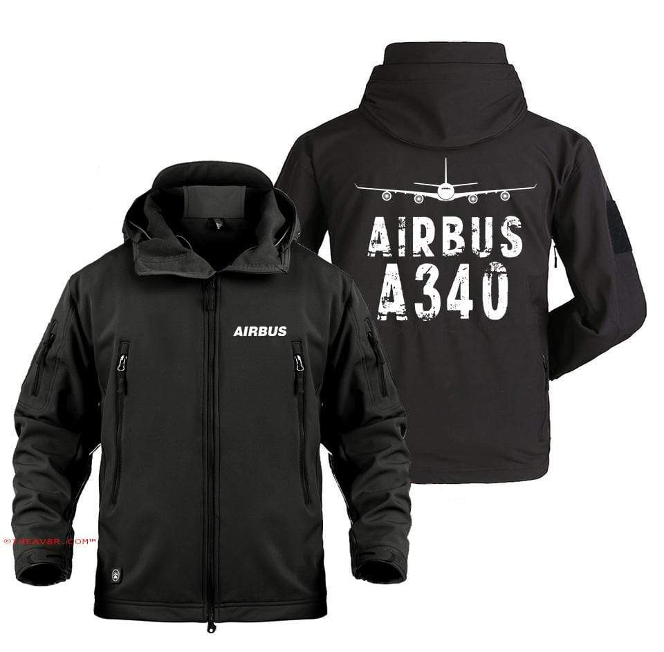 AIRPLANE LOVER Military Fleece Black / S AIRBUS A340 FADE DESIGNED MILITARY JACKET