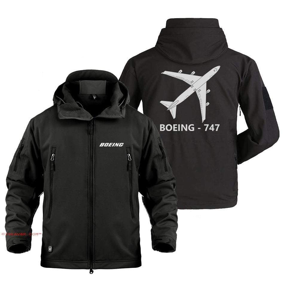 AIRPLANE LOVER Military Fleece Black / S BOEING 747 DESIGNED MILITARY JACKET