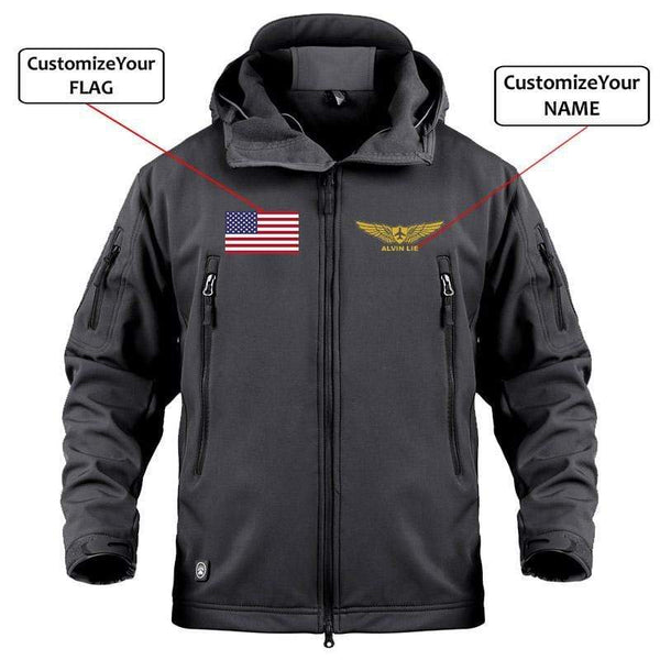 AIRPLANE LOVER Military Fleece Black / S Custom Name & Flag Military Fleece Warm Tactical Jacket