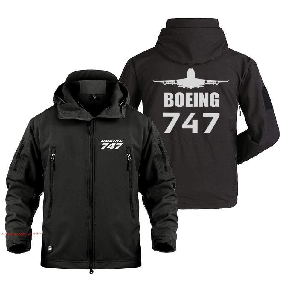 AIRPLANE LOVER Military Fleece BOEING 747 DESIGNED MILITARY JACKET