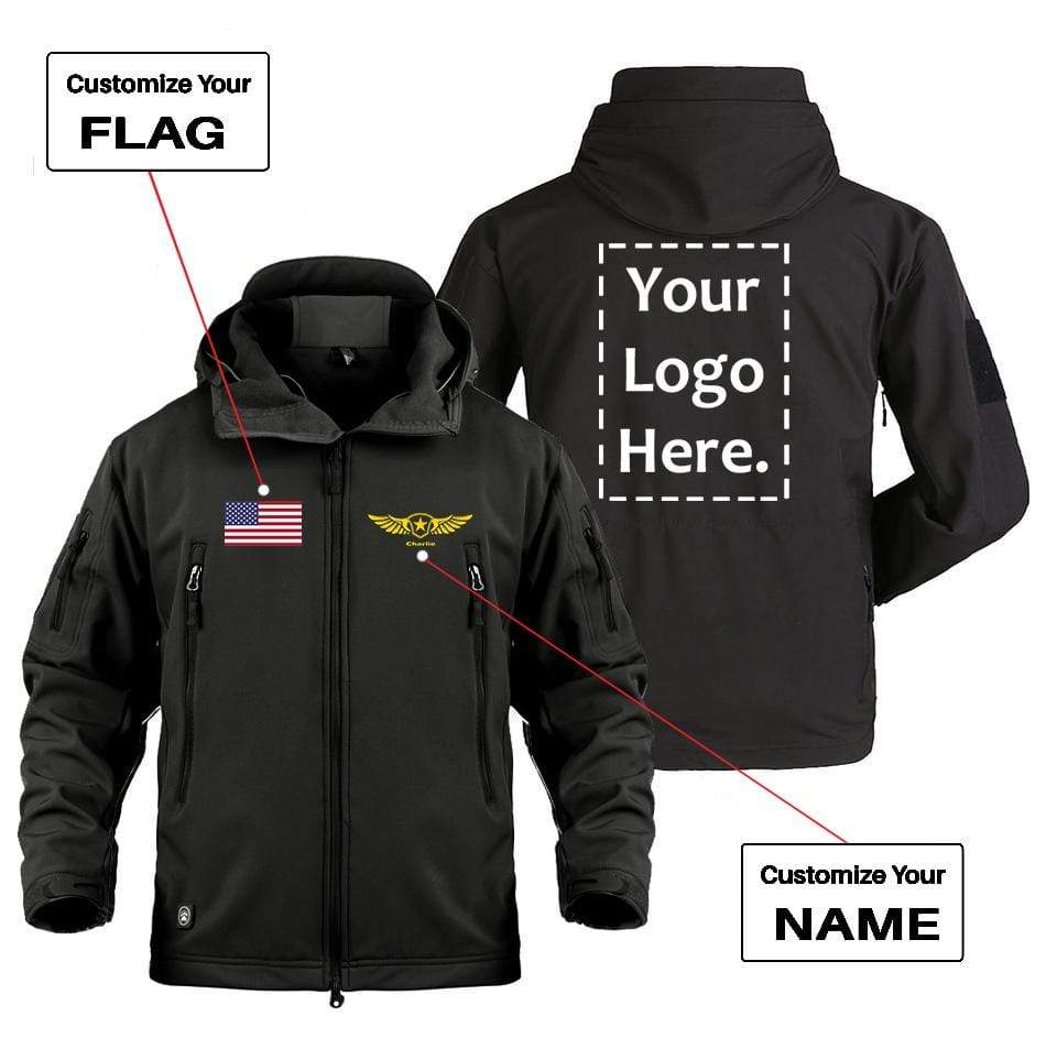 AIRPLANE LOVER Military Fleece CUSTOM FLAG, LOGO & NAME WITH BADGE DESIGNED MILITARY FLEECE