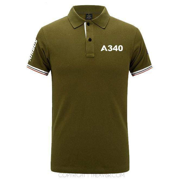 Airplane Lover polo Army green / S Airbus A340