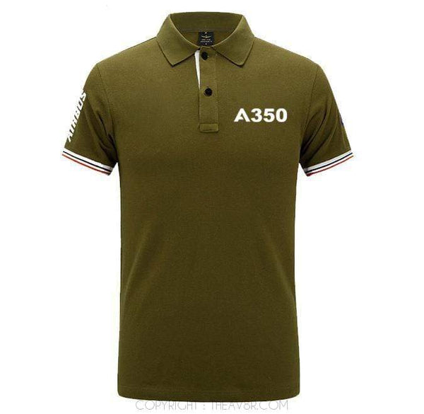 Airplane Lover polo Army green / S Airbus A350