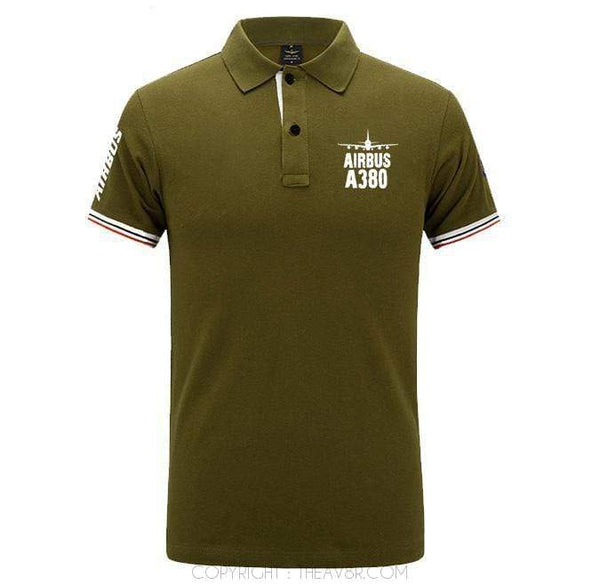 Airplane Lover polo Army green / S Airbus A380