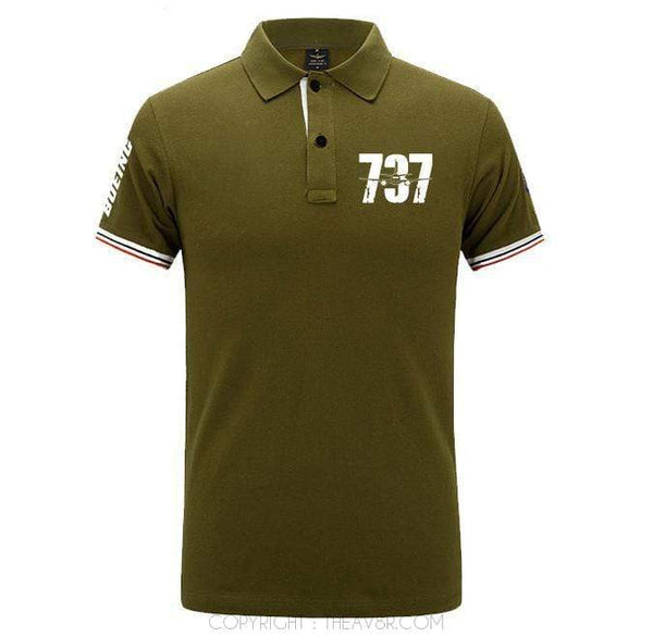 Airplane Lover polo Army green / S Boeing B737