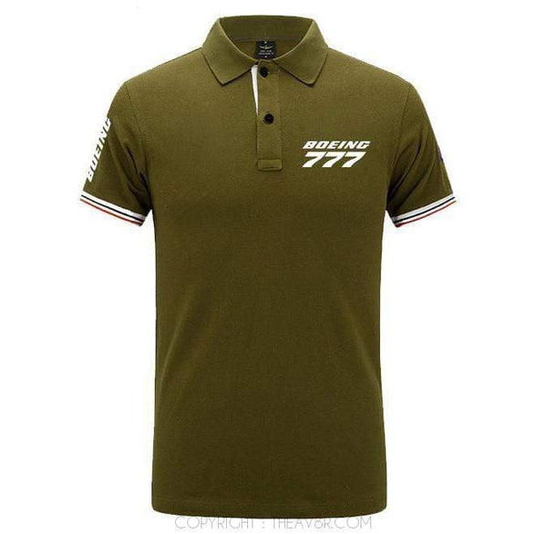 Airplane Lover polo Army green / S Boeing B777