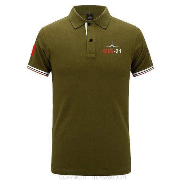 Airplane Lover polo Army green / S MIG 21