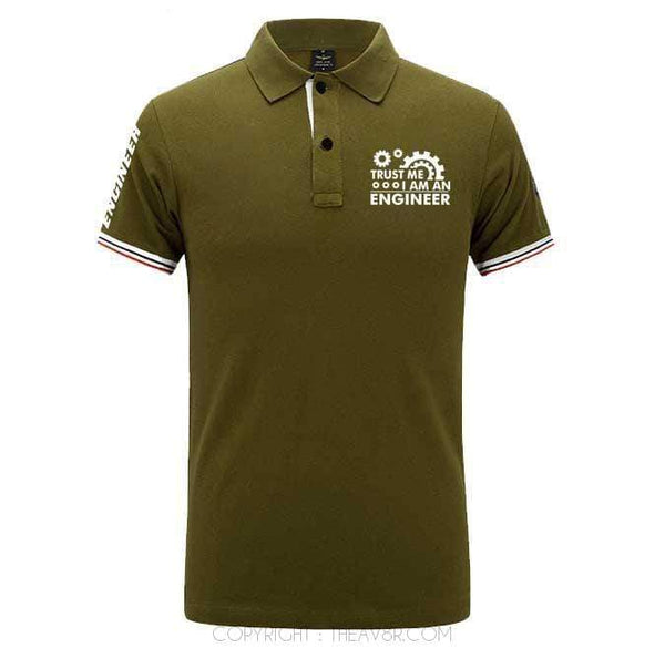 Airplane Lover polo Army green / S TRUST ME I AM A ENGINEER