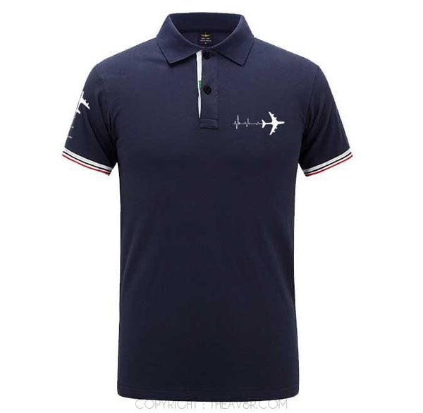 Airplane Lover polo Dark blue / S Airplane Heartbeat Polo