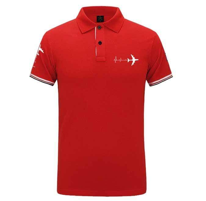 Airplane Lover polo Red / S Airplane Heartbeat Polo