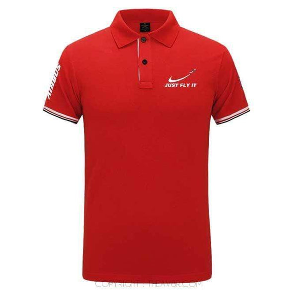 Airplane Lover polo Red / S Just fly it