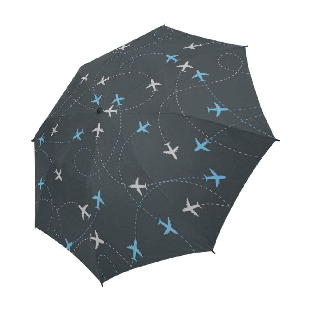e-joyer Semi-Automatic Foldable Umbrella One Size Travel around the world airplane route Semi-Automatic Foldable Umbrella (Model U05)