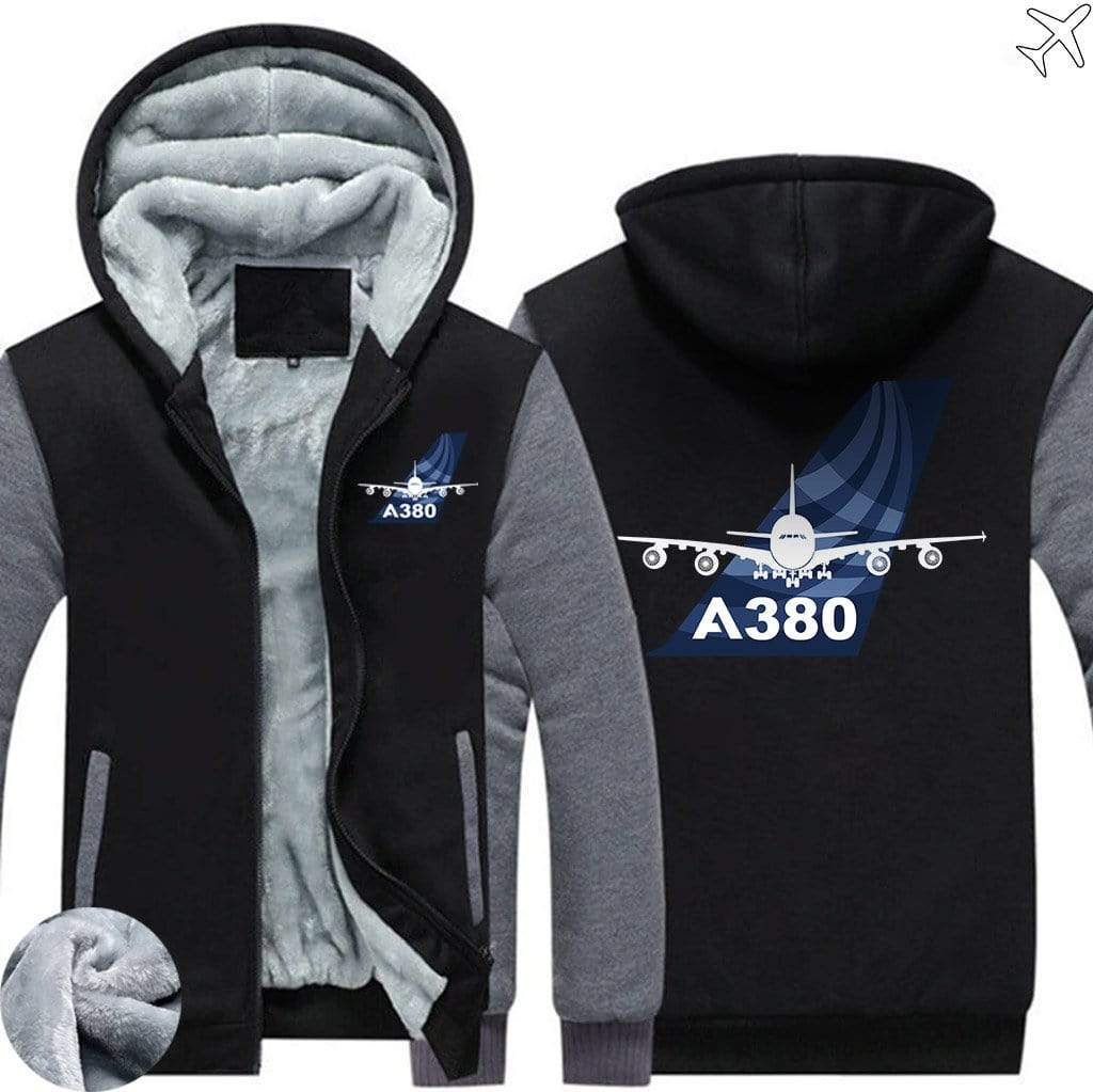 AIRZT sweatshirt Black Gray / S Airbus A380 Zipper Sweater