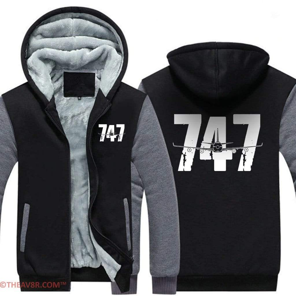 AIRZT sweatshirt Black Gray / S BOEING 747 ZIPPER SWEATER