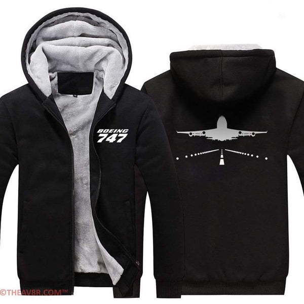 AIRZT sweatshirt Black / S Boeing 747 Zipper Sweater