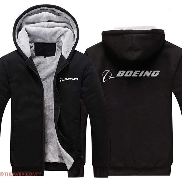 AIRZT sweatshirt Black / S BOEING LOGO HOODIES ZIPPER SWEATER